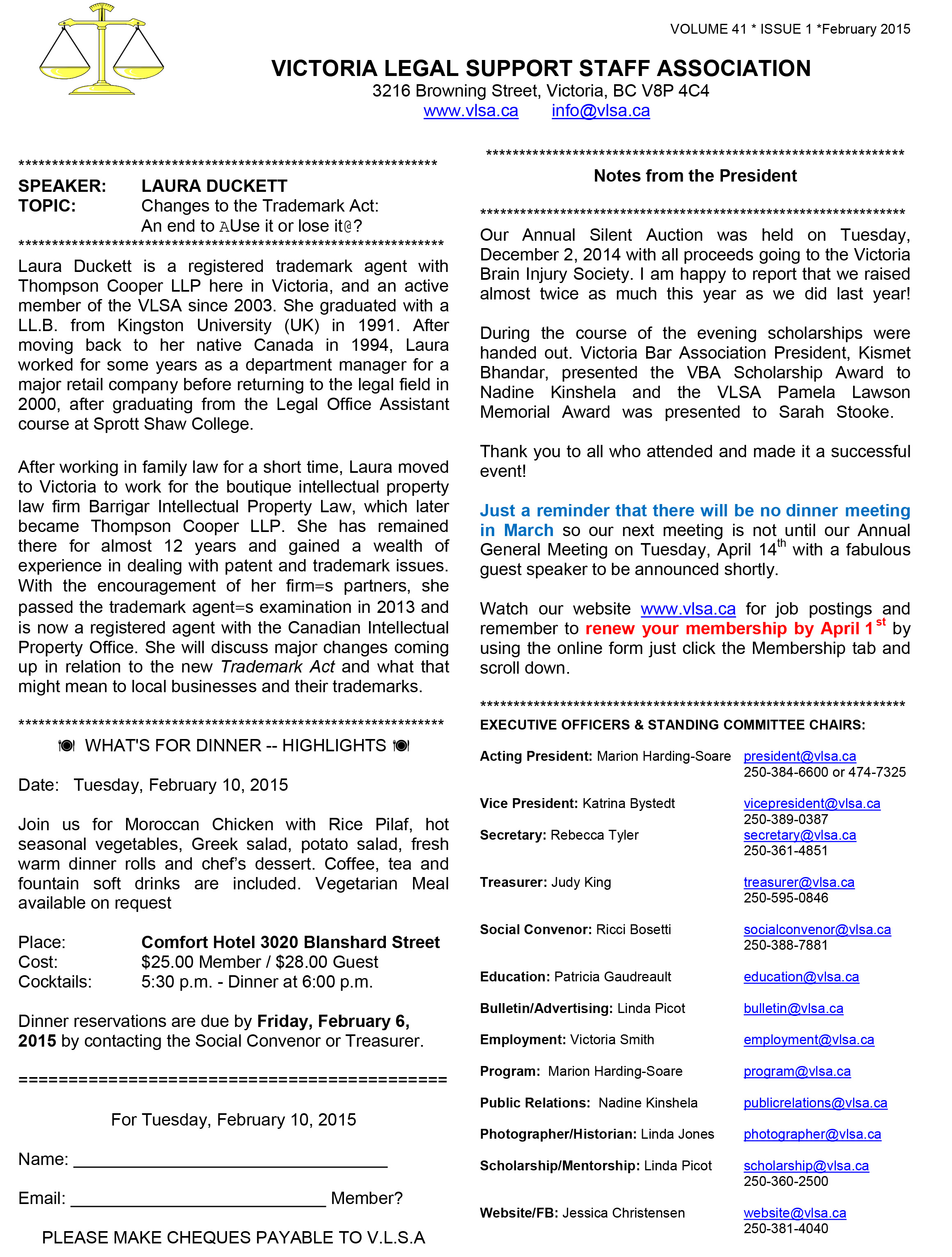 Microsoft Word - VLSA Bulletin Feb 2015